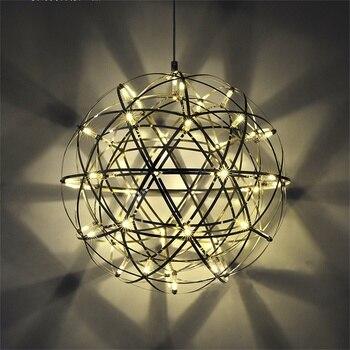 110-220 v LED Rvs Moderne Ster Suspension Light Ball Shape Hanger Lights Lamparas Armatuur Hanglamp Lustres Lamba 47