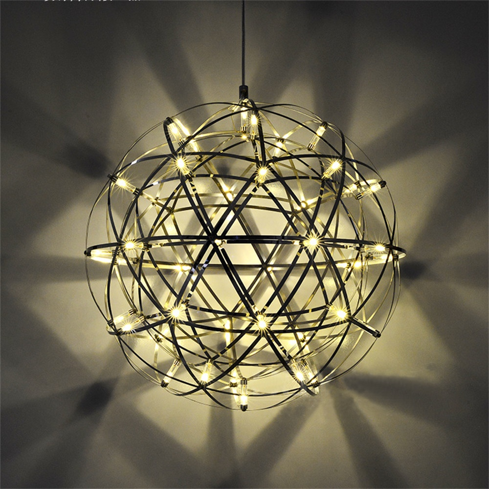 110-220v LED Stainless Steel Modern Star Suspension Light Ball Shape Pendant Lights Lamparas Luminaire Hanglamp Lustres Lamba 47 egypt imported crystal 8 light pendant lights in ball shape chrome pl1040