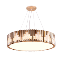 Nordic luxury crystal pendant lights gold plated Aluminum body crystal accessory droplight in hotel villa Large decorative lamps