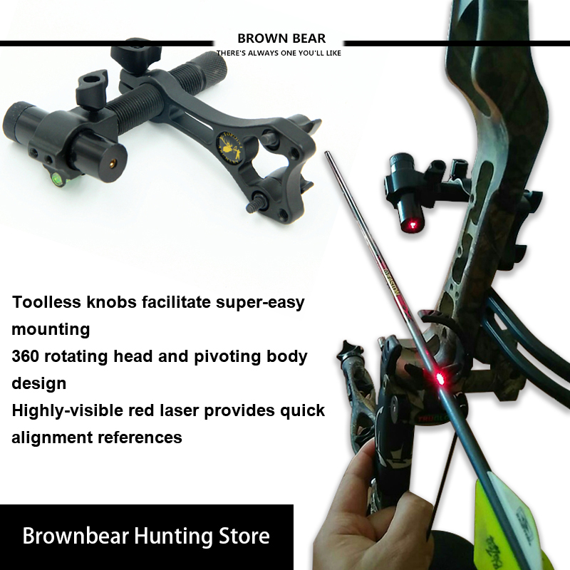 US $28 46 46% OFF Compound Bow Tools Bow Laser Sight Aluminum Archery  Center Laser Aligner with 360 Degree Rotating Head for Archery Hunting-in  Bow &