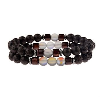 Bracelet distance pierre de lave transparent