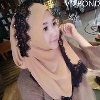 2018 новые модные малайский Моделирование Шелковый шарф высокого класса Перл кружева шарф мусульманская крышка головки арабские 100 голову хи