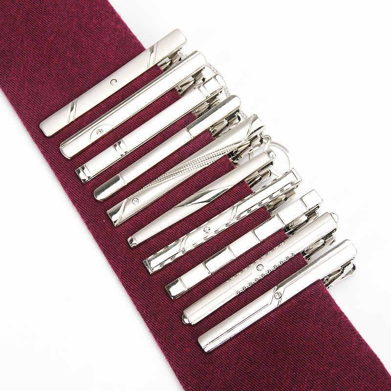 Nova marca de Metal Simples Prata Prendedor de Gravata Para Os Homens De Casamento laço da Gravata Fecho Clipe Gentleman Tie Bar Cristal Alfinetes de Gravata para o Presente Dos Homens