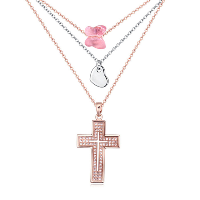 Baffin Crystals From SWAROVSKI Rose Gold Color Cross Necklaces