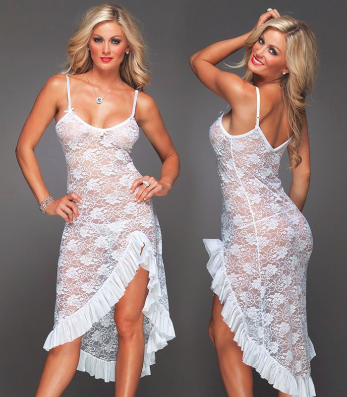 XL XXL XXXL 4XL 6XL Plus Size Sexy Babydoll Long Sleepdress Lace Sexy Lingerie  Underwear Women White Lenceria Sexy Sleepwear