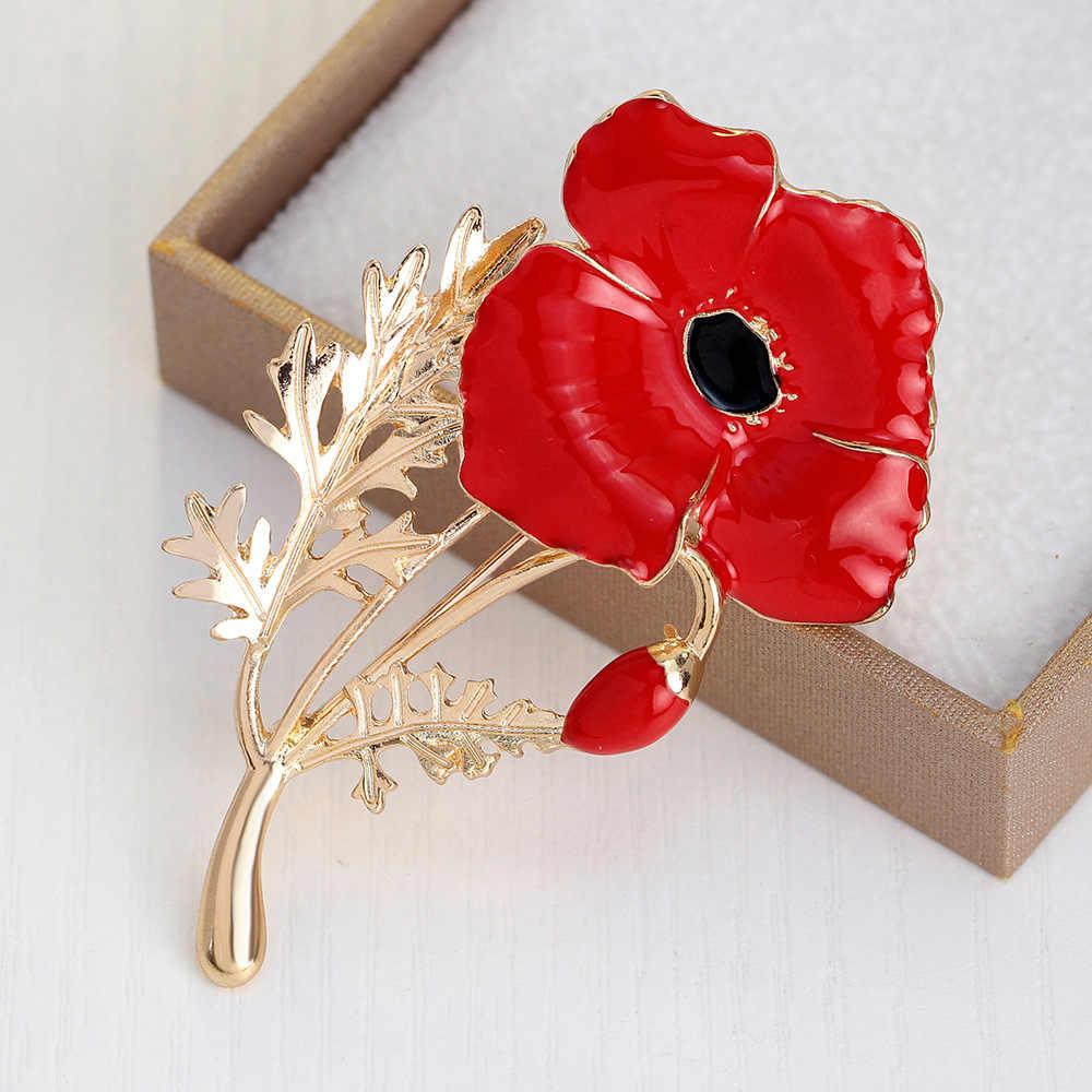 Oneckoha Expoyed Red Poppy Bunga Bros Koleksi Paduan Seng UK Putri Souvenir Pin Hadiah Hari Ibu