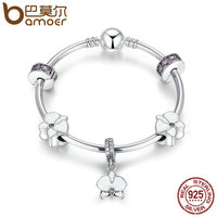 BAMOER Authentic 925 Sterling Silver Orchid White Enamel Clear Orchid CZ Charm Bracelets Sterling Silver Jewelry