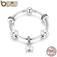 BAMOER Authentic 925 Sterling Silver Phong Lan, Men trắng, Clear & Phong Lan CZ Charm Bracelets Sterling Bạc Trang Sức PSB012