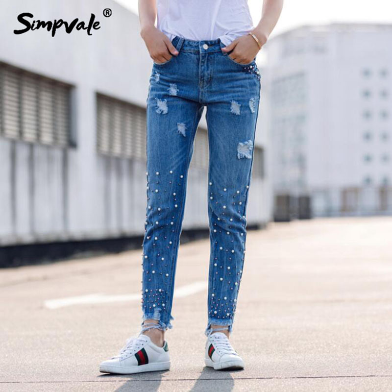 SIMPVALE Women Beaded Hole Broken Jeans Solid Ankle-Length Beading Denim Pants Female Raw Edge Ripped Jeans Embroidered Flares 2017 ripped jeans women casual denim ankle length boyfriend pants women floral embroidered flares hole female slim pencil pants