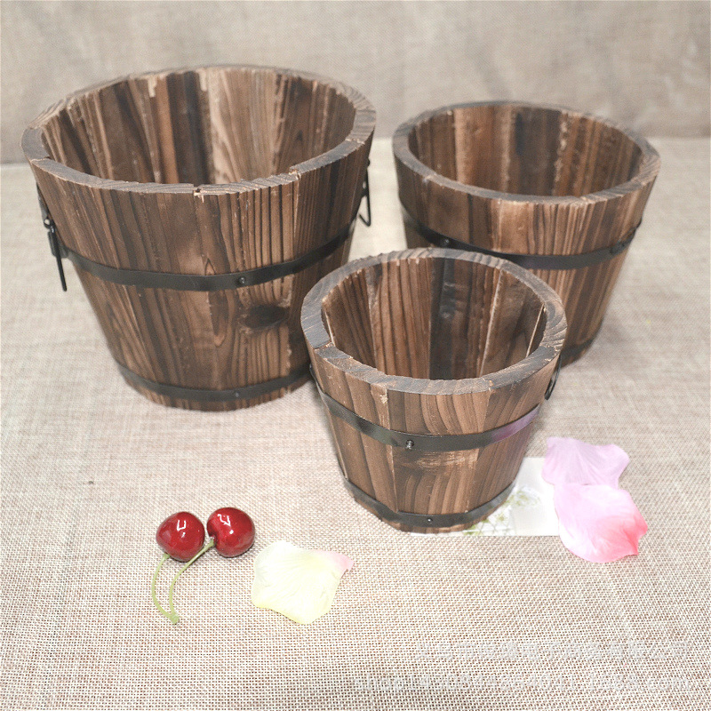Carbonized Wood Multi-meat Pot Home Decoration Retro Small Wooden Bucket Wooden Round Barrel Planter Flower Pots