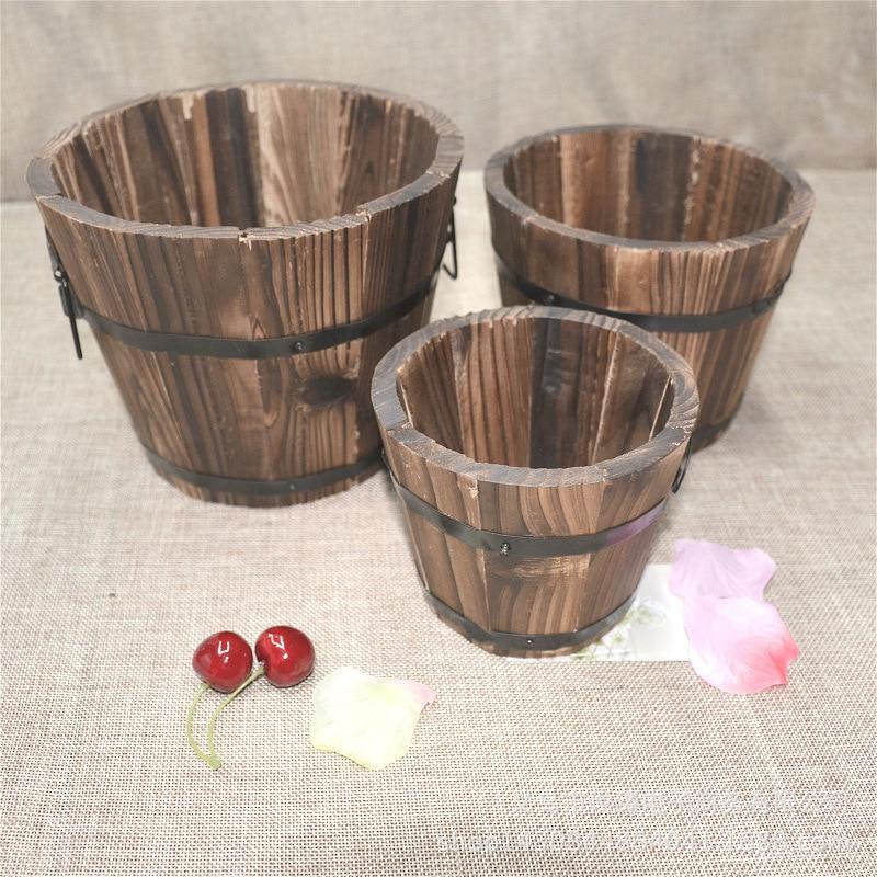 Carbonized Wood Multi-meat Pot Home Decoration Retro Small Wooden Bucket Wooden Round Barrel Planter Flower Pots