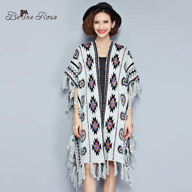 2016 Winter Female Coats New Autumn National Style Tassel Hem Big Sizes Women Knitting Cloaks for Women(BelineRosa TYW097)