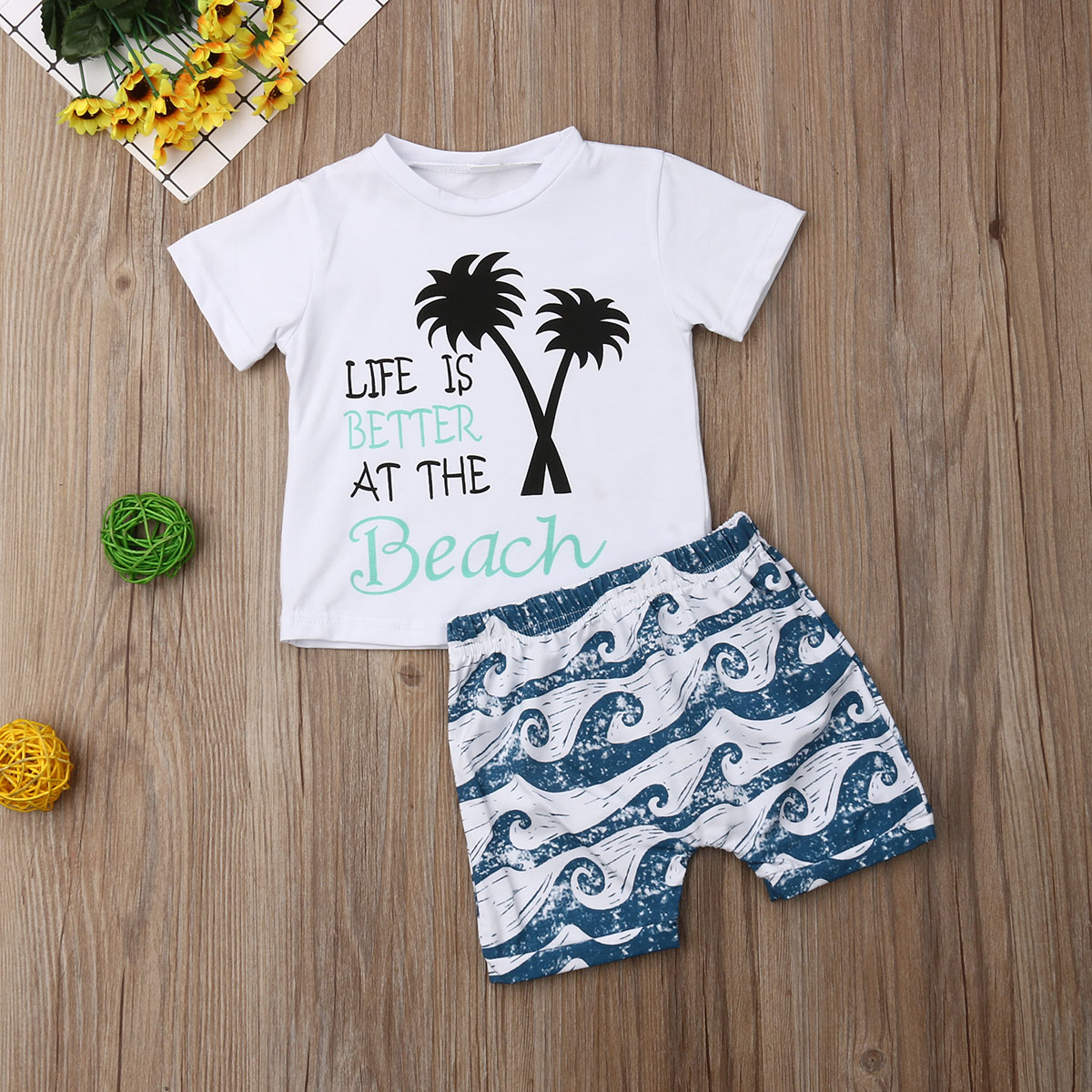 Pudcoco Summer Newborn Baby Boy Clothes T-Shirt+Waves Print Shorts 2PCS Outfits Summer Casual Clothes