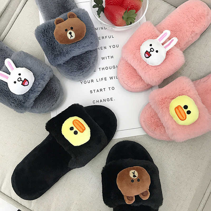 buy sale online for sale price reduced Cute animals fretwork slippers fur shoes women cartoon plush bear ...