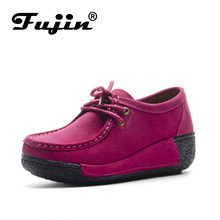 Fujin Brand Split Genuine Leather Platform Shoes Loafers For Women Spring Autumn Slip on Creepers Soft Sole Casual Fashion women creepers quality girls famous casual platform shoes woman genuine leather loafers autumn footwear ladies shoes women brand