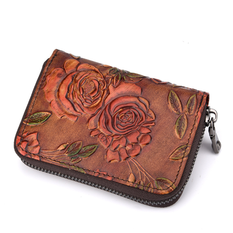 Women Genuine Leather Organizer Zipper ID Card Holder Female Vintage Flower Travel Wallets Business Card Holder non woven fabrics hanging type 18 cd dvd card holder beige