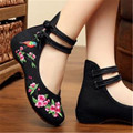 Free shipping Summer new beef tendon  old Beijing Chinese wind exquisite embroidery cloth shoes women's singles size 34-41