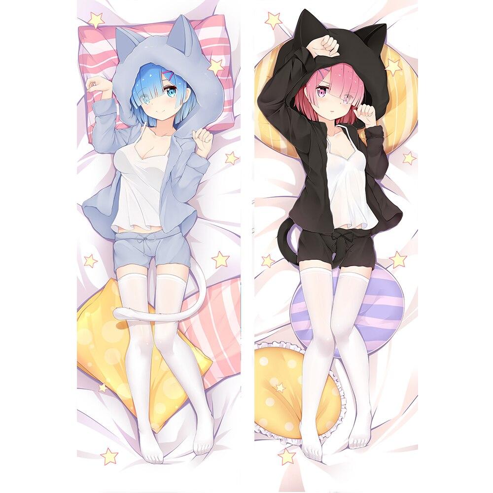 NEW EMILIA HERMIT RE ZERO Japanese Anime Dakimakura Hugging Body Pillow Cover