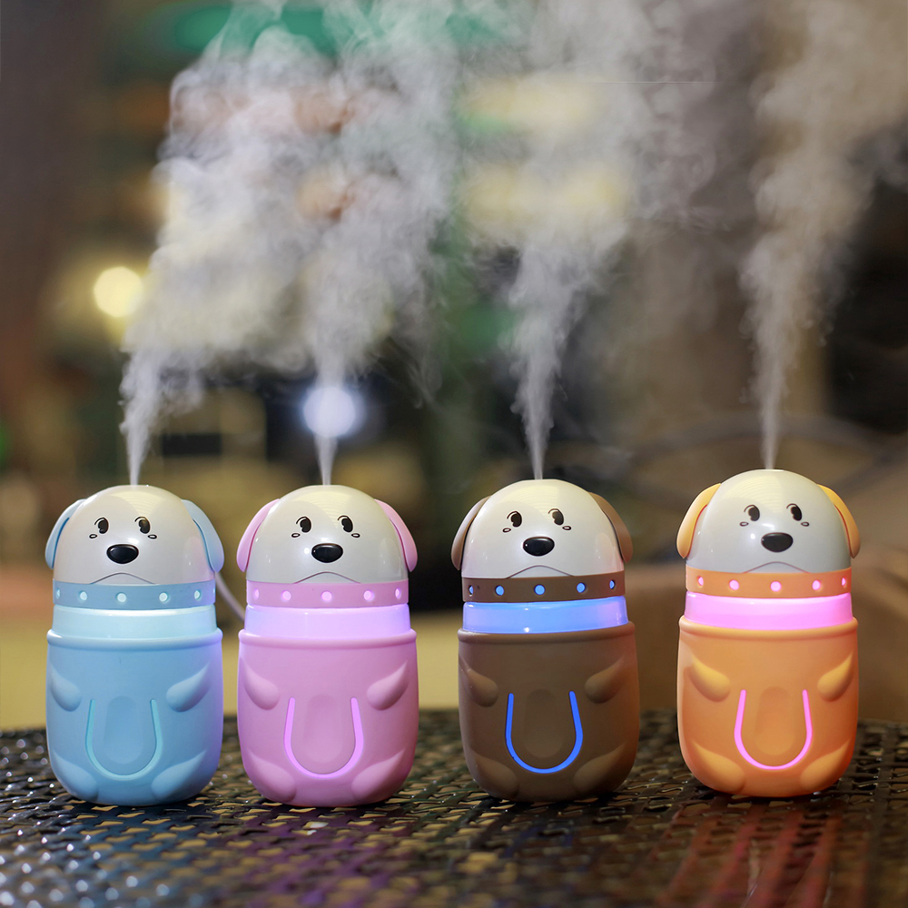 Wholesale Price 165ml Cute Funny Puppy Humidifier Air Diffuser Purifier Atomizer Essential oil diffuser Cute dog For Home Or Car wholesale solar energy air humidifier car air purifier with filtration system