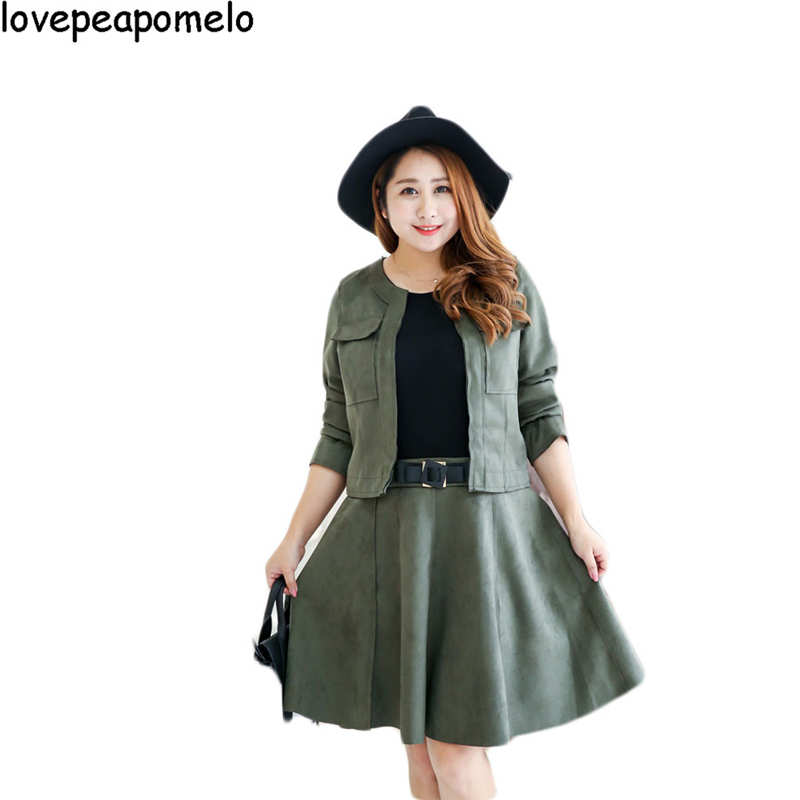 lovepeapomelo 2017 Spring and Autumn Women Dress Western Style 2Pcs Work Dress Elegant Black and Green Office Dresses 6XL D03