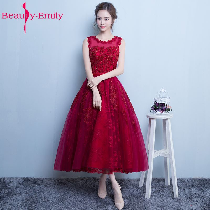 Beauty-Emily 2019   Bridesmaid     Dresses   Tea-length appliques A-line Tulle Beading See-through Wedding Party Prom   Dresses   vestido de