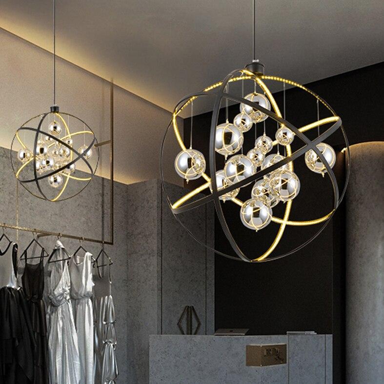 Led Modern Pendant Lights Round Glass Ball Hanging Lamps