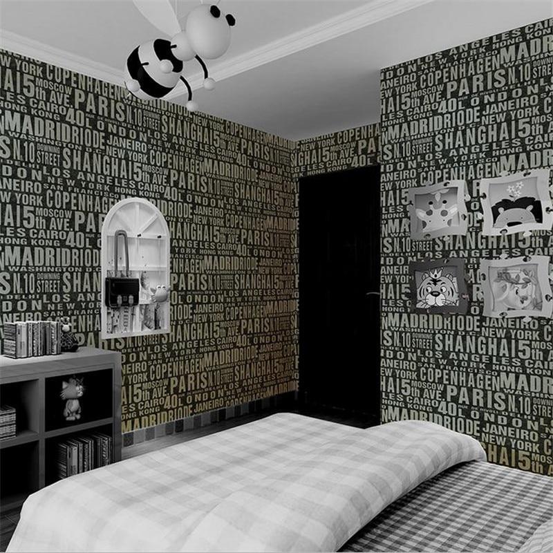 Papier peint noir et blanc en papier peint moderne Europe Alphabet revêtement mural en relief salon décor chambre mur Art bureau