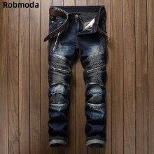 Pleated Biker Jeans Pants 2019 Men's Slim Fit Brand Designer Denim Trousers For Male Straight Washed Multi Zipper pants homme недорго, оригинальная цена