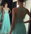 Ilusión Con Cuentas Corpiño de Encaje Verde menta Gasa Piso-Longitud Vestido de Fiesta Vestido De Festa Largo Vestido de Graduación