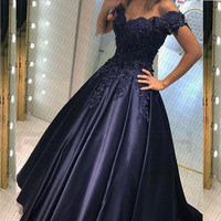 Ryanth Fantastic Long Navy Blue Evening Dress For Party 2019 New Arrival Short Sleeve Lace Satin Prom Gown Robe De Soiree longue