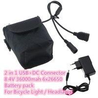 8.4 v usb + dc portas 26650 36000 mah bateria recarregável 6x26650 bicicleta luz de alimentação para led farol da bicicleta com carregador da ue|bicycle light|battery pack|bicycle power -