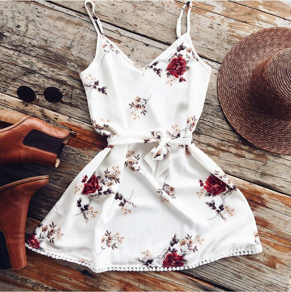 Summer Women Sleeveless Boho Dress Casual Beach Floral  V Neck Sundress Mini Dress 2018 New Fashion
