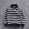 2015 nuevos niños otoño / ropa de invierno suéter del cabrito de suéteres ocasionales de rayas para el bebé de jersey 5 sizes para 2 - 7 T