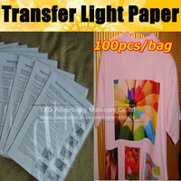 High quality Transfer paper for light shirts for heat press machine with free shipping 100 sheets/Lot