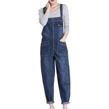 купить New Spring Autumn Fashion Brand Plus Size L-6XL Jeans Loose Casual Full Length Overalls Big Size Denim Pants Woman Jumpsuits D28 дешево