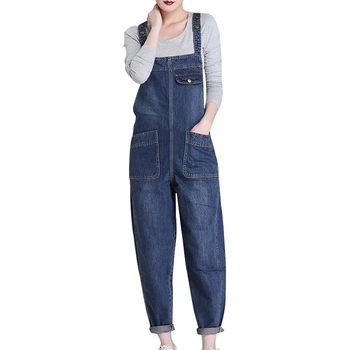 New Spring Autumn Fashion Brand Plus Size L-6XL Jeans Loose Casual Full Length Overalls Big Denim Pants Woman Jumpsuits D28