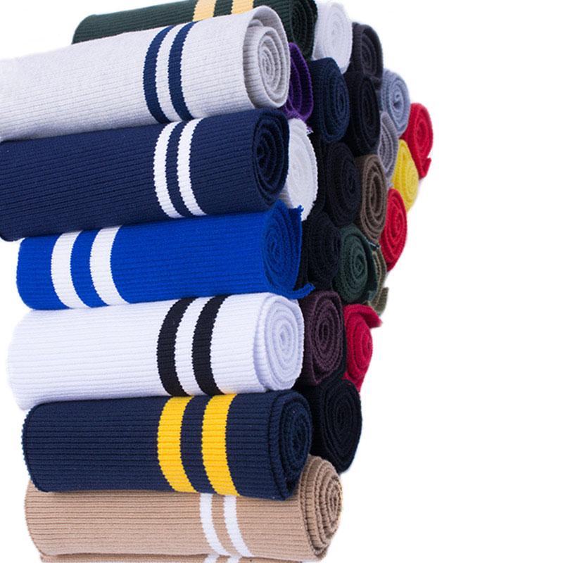 2PCS 15*80CM Thicken Strecth Stripes Pattern Knitted Rib Fabric For DIY Sewing Waistband Welt Cuffs,Neck Band,Jackets
