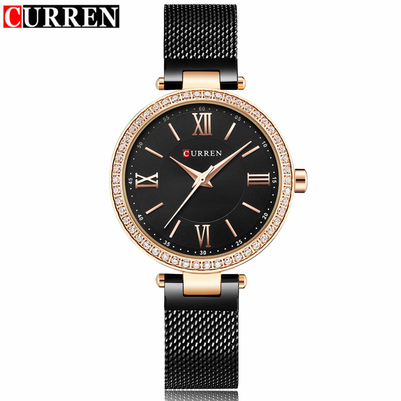 Curren Women Watches Brand Luxury Gold Black Pulsera reloj de cuarzo - Relojes para mujeres