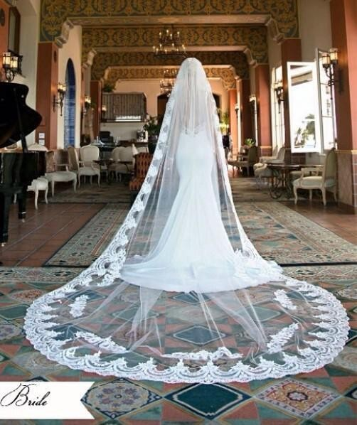 388be57576 Vintage Style Lace Cathedral Wedding Veils Applique Edge Long One Layer  Bridal Veil Custom Made Cheap