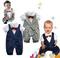 Новый 2016 красивый мальчик джентльмен жилет ползунки с галстуком-бабочкой лето детская одежда новорожденных одежда дети комбинезон ребенка комбинезон