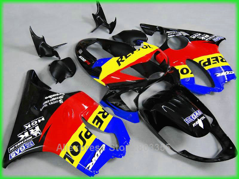 colorful fairings Fit for Honda CBR600 F4 1999 2000 99 00 ( yellow + blue + red ) cbr 600 fairing kit xl36