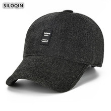 SILOQIN Autumn Winter Middle-aged Mens Warm Ear Protection Baseball Caps Trendy Wild Solid Color Adjustable Tongue Cap Dads Hat