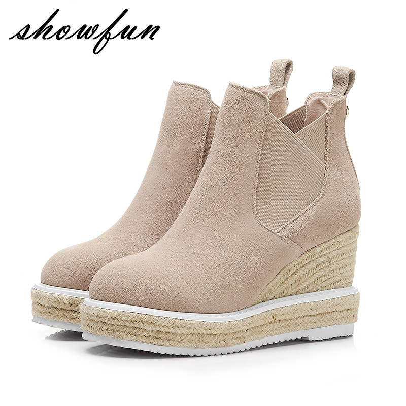 Women's Genuine Suede Leather Hemp Wedge Platform Slip-on Autumn Ankle Boots Brand Designer Leisure High Heeled Shoes for Women nayiduyun women genuine leather wedge high heel pumps platform creepers round toe slip on casual shoes boots wedge sneakers