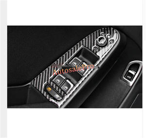 7d61536cf9 Left Hand Drive Carbon Fiber Inside Door Armrest Window Switch button Cover  Trim