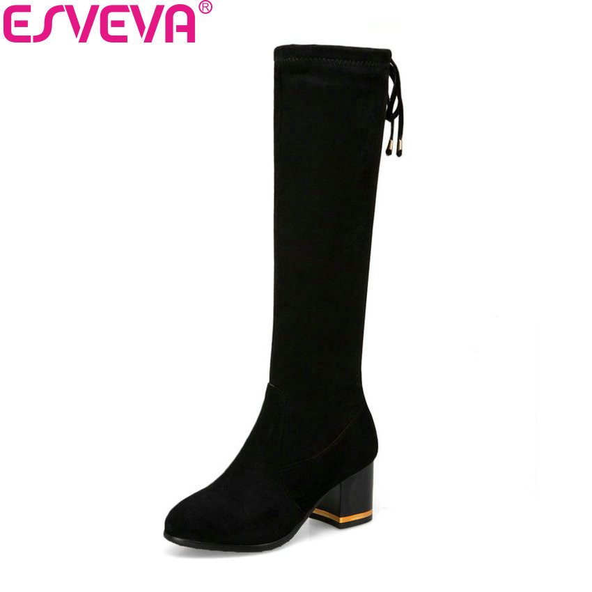 ESVEVA 2019 Women Winter Boots Lace Up Knee High Boots Suede Square High Heels Shoes Round Toe Autumn Shoes Woman Size 34-43 enmayer buckle strap round toe zippers high heels winter boots shoes woman sexy red shoes large size 34 43 knee hight boots
