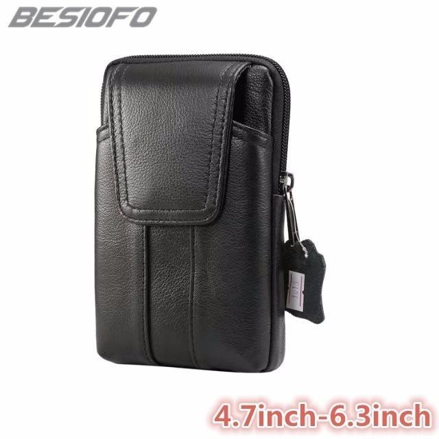 Belt Waist Bag Zipper Pouch Double Pockets Genuine Leather Phone Case For Samsung Galaxy S4 S5 S6 S7 S8 Plus S9 S7 S8 Edge