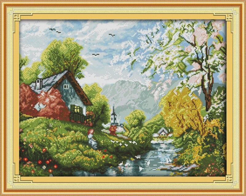 Красивая река и небо Счетный крест 11ct печатных 14ct комплект DIY китайский хлопок Крестик Комплект Вышивка рукоделие
