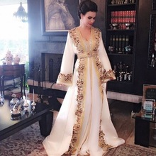 kejiadian White Beaded Evening Dresses Long Sleeves