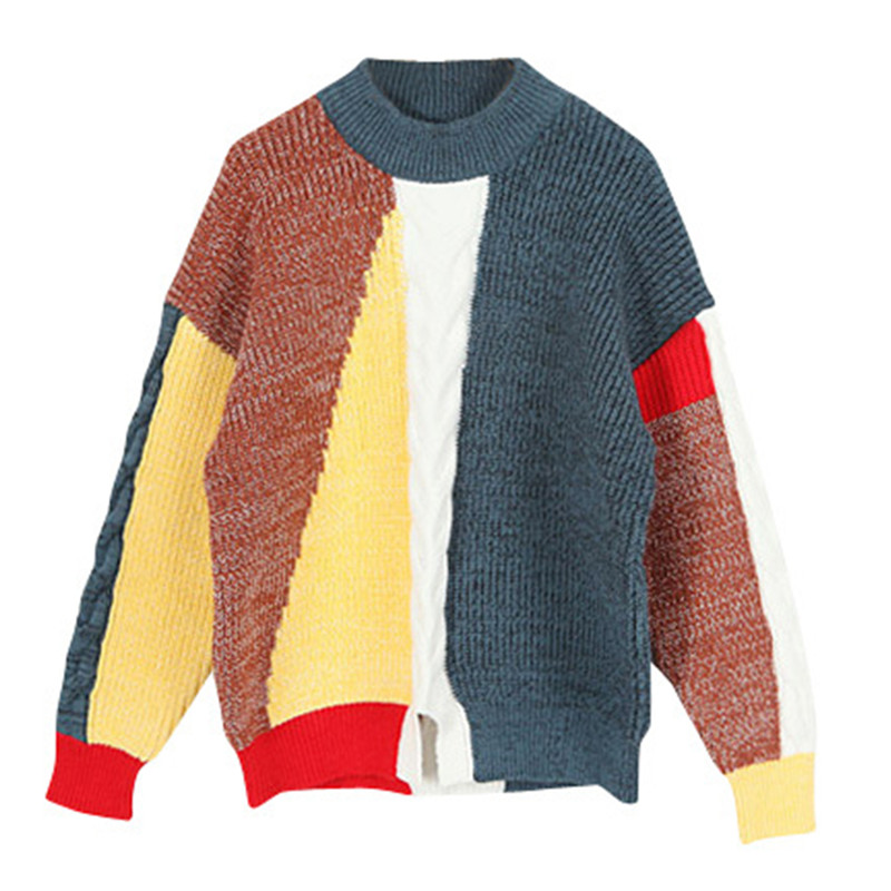 все цены на 4 to 16 years kids & teenager girls color block crew neck ribbed hem pullover knit sweater children fashion striped sweater tops