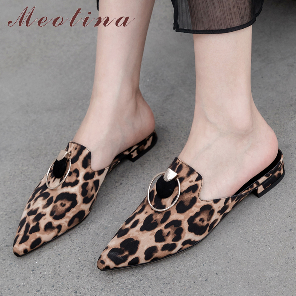 Meotina Summer Slippers Women Mules Shoes Kid Suede Leopard Flat Shoes Real Leather Buckle Pointed Toe